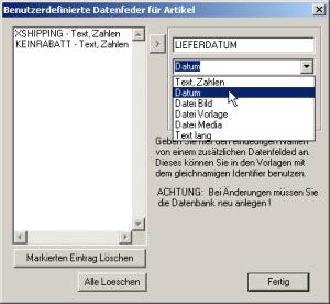 Benutzerdefinierte Datenfelder